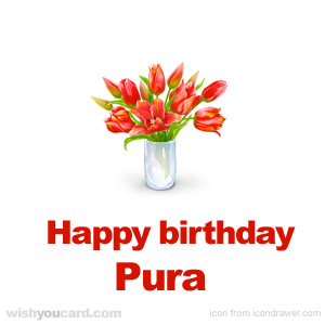happy birthday Pura bouquet card