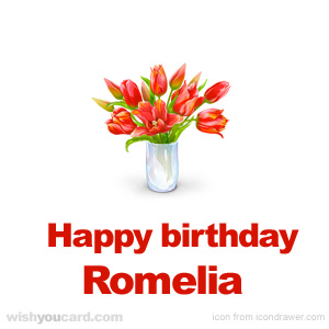 happy birthday Romelia bouquet card
