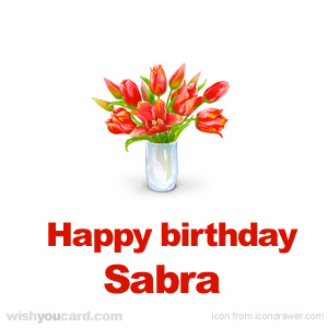 happy birthday Sabra bouquet card