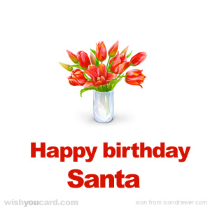happy birthday Santa bouquet card