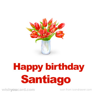 happy birthday Santiago bouquet card