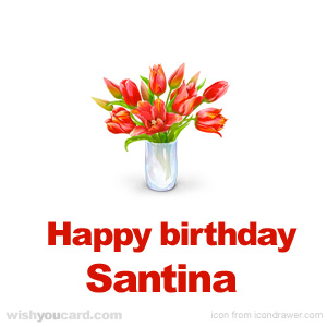 happy birthday Santina bouquet card