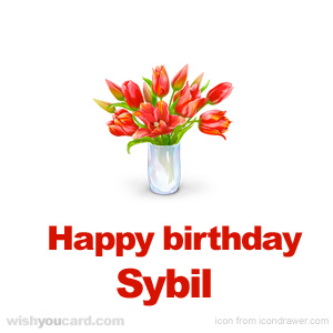 happy birthday Sybil bouquet card