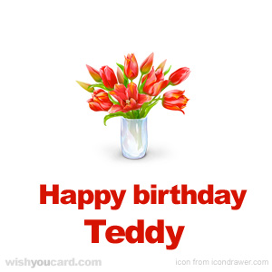 happy birthday Teddy bouquet card