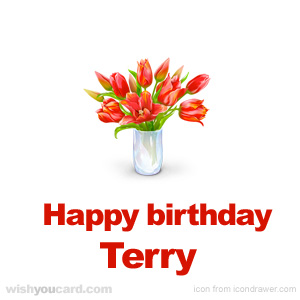happy birthday Terry bouquet card