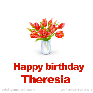 happy birthday Theresia bouquet card