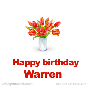 happy birthday Warren bouquet card