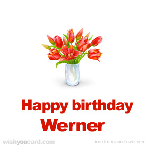 happy birthday Werner bouquet card
