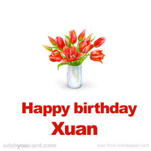 happy birthday Xuan bouquet card