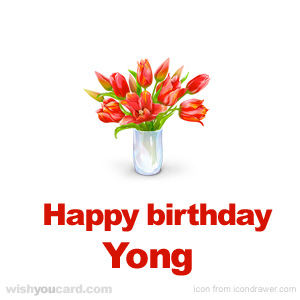happy birthday Yong bouquet card