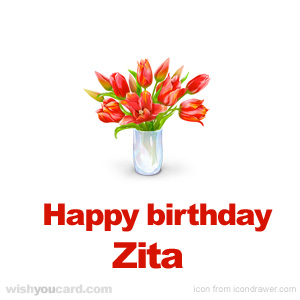happy birthday Zita bouquet card