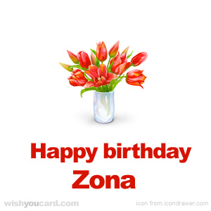 happy birthday Zona bouquet card