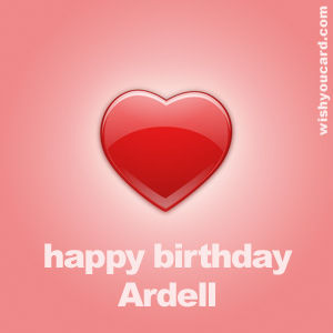 happy birthday Ardell heart card