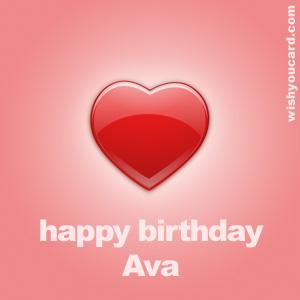 Happy Birthday Ava Heart Card