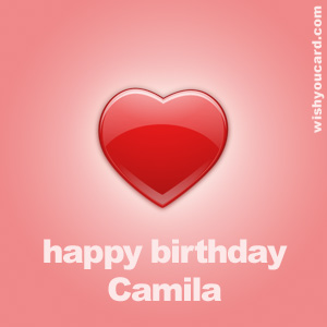 happy birthday Camila heart card