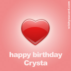 happy birthday Crysta heart card