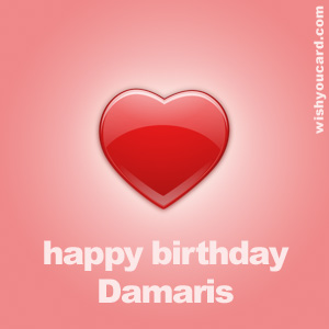 happy birthday Damaris heart card