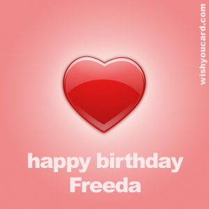 happy birthday Freeda heart card