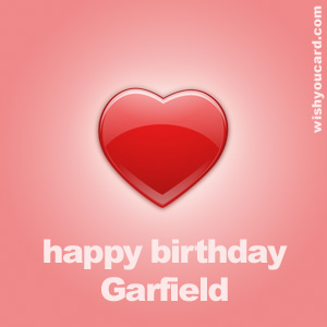 happy birthday Garfield heart card