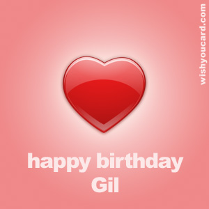 happy birthday Gil heart card