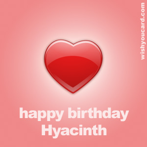 happy birthday Hyacinth heart card