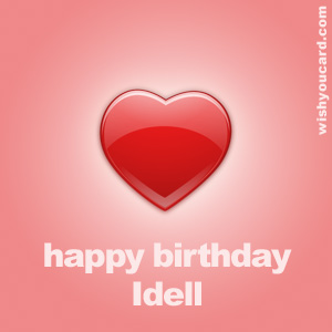 happy birthday Idell heart card