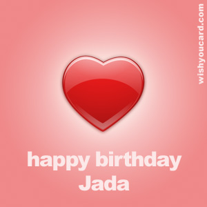 happy birthday Jada heart card