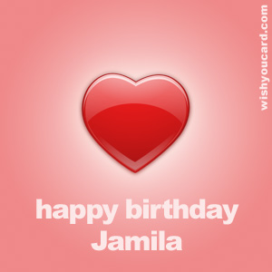 happy birthday Jamila heart card