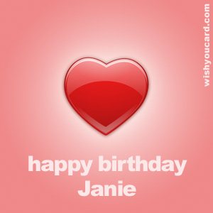 happy birthday Janie heart card