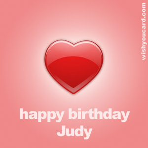 happy birthday Judy heart card