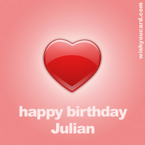 happy birthday Julian heart card