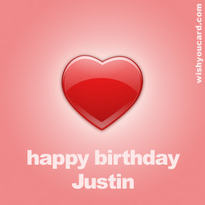 happy birthday Justin heart card