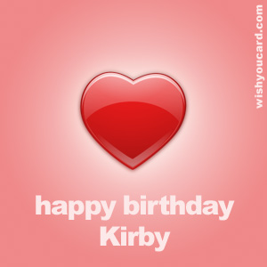 happy birthday Kirby heart card