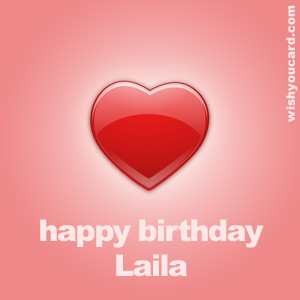 happy birthday Laila heart card