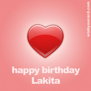 happy birthday Lakita heart card