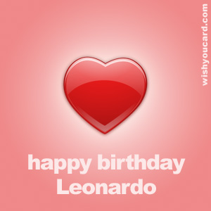 happy birthday Leonardo heart card
