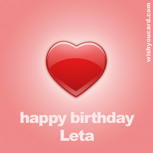 happy birthday Leta heart card