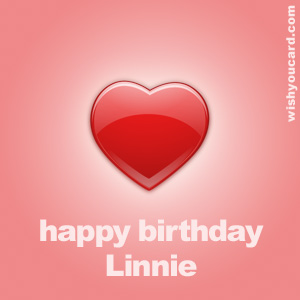 happy birthday Linnie heart card