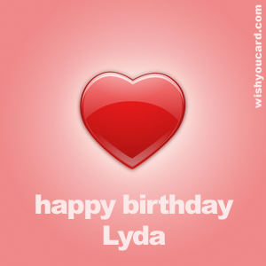 happy birthday Lyda heart card