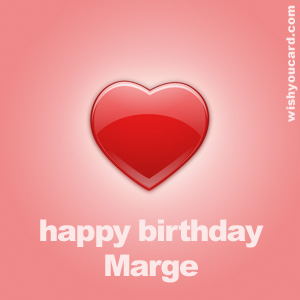 happy birthday Marge heart card