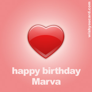 happy birthday Marva heart card