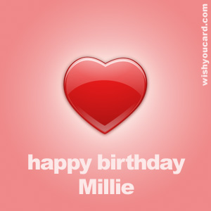 happy birthday Millie heart card