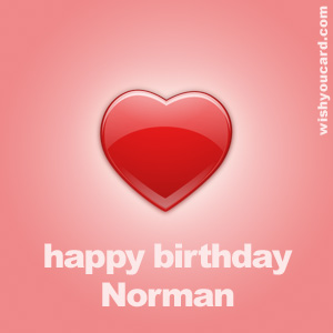 happy birthday Norman heart card