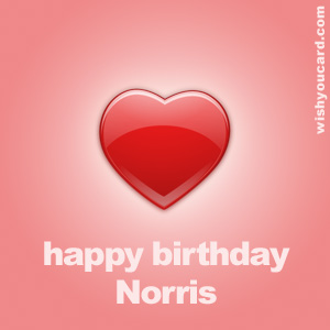 happy birthday Norris heart card