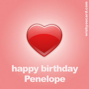 happy birthday Penelope heart card