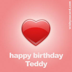 happy birthday Teddy heart card