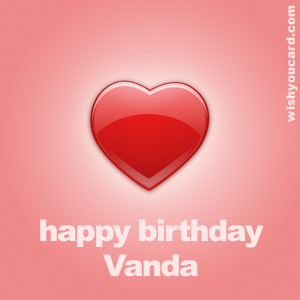 happy birthday Vanda heart card