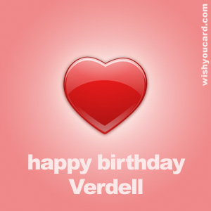 happy birthday Verdell heart card