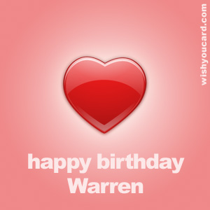 happy birthday Warren heart card