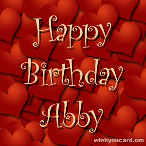 happy birthday Abby hearts card